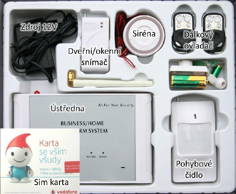 levný bezdrátový GSM alarm se SIM-KARTOU Vodafone