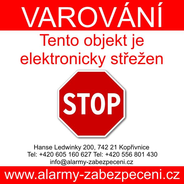 Výstražná nálepka alarm - chráněno zabezpečovacím systémem